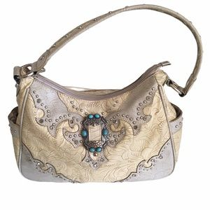 Montana West Cream Satchel with Turquoise Detail